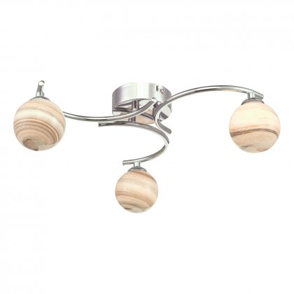 Mikara 6 Light Cluster Pendant Marble Effect Glass Polished Chrome