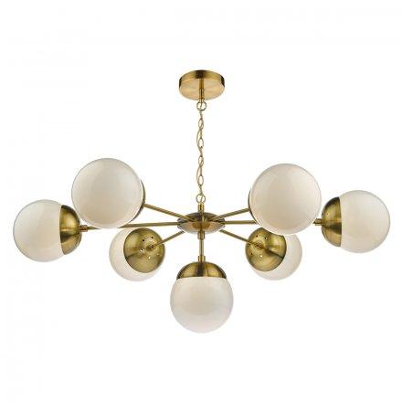 Bombazine 7 Light Pendant Natural Brass & White Opal Glass
