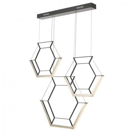 Hexagon 3lt Pendant Black LED