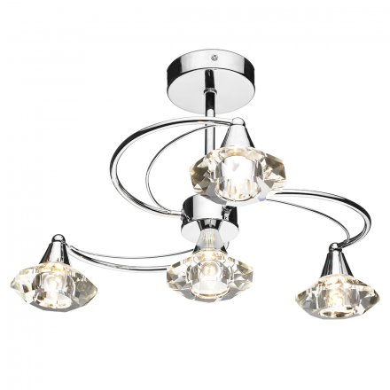Luther 4 Light Semi Flush complete with Crystal Glass Polished Chrome