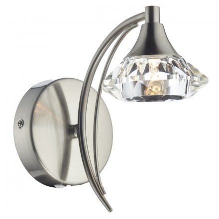 Luther Single Wall Bracket complete with Crystal Glass Satin Chrome