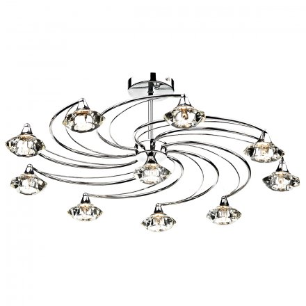 Luther 10 Light Semi Flush complete with Crystal Glass Polished Chrome