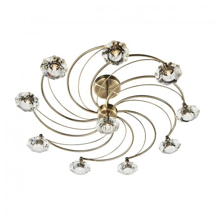 Luther 10 Light Semi Flush complete with Crystal Glass Antique Brass