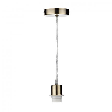 1 Light Antique Brass E27 Suspension With Clear Cable