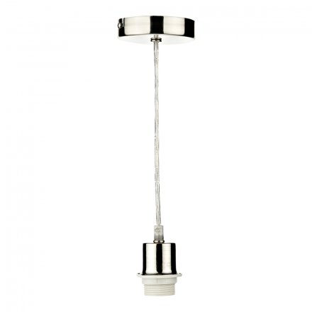 1 Light Satin Chrome E27 Suspension With Clear Cable