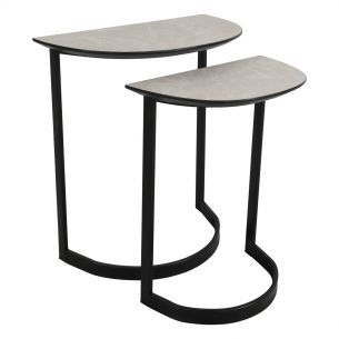 Ercelle Nest Of 2 Tables Light Grey Marble