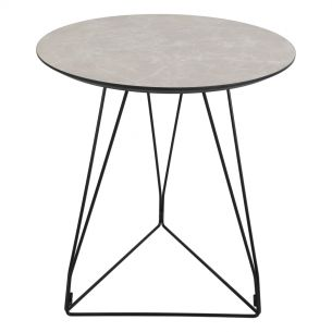 Fiksdale Round Table Light Grey Marble