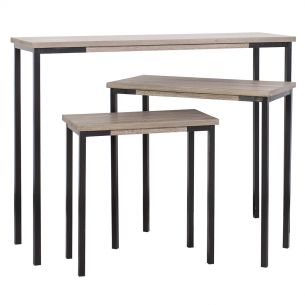 Pittsburgh Set of 3 Side and Console Tables Oak Style Veneer