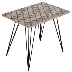 Solomon Side Table Wood Veneer With Black Print