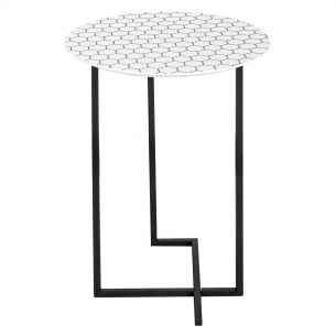 Tamworth Round Side Table White Honeycombe Print Top