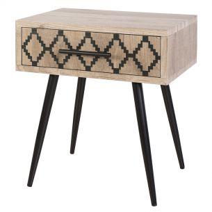 Tewkesbury Side Table Oak Style Veneer With Printed Drawer