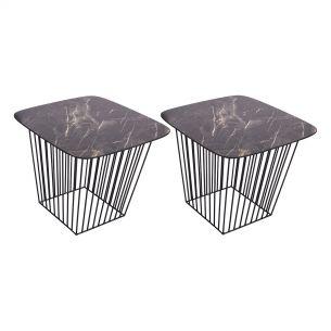 Veila Pack Of 2 Tables Dark Marble