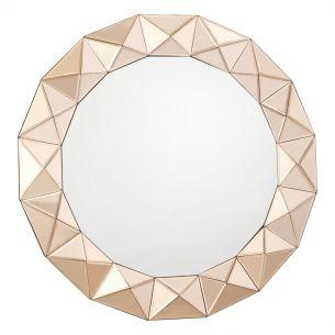 Cetara Round Rose Gold 3D Border Mirror 80CM
