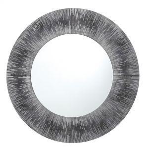 Neome Round Mirror With Silver/Grey Frame 80CM