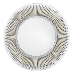 Neuss Round Mirror With Black/Gold Foil Detail 80CM