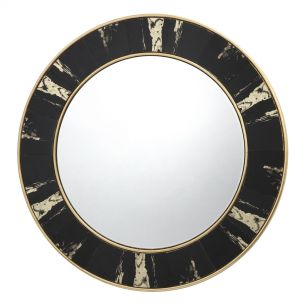 Sidone Round Mirror With Black/Gold Foil Detail 80CM