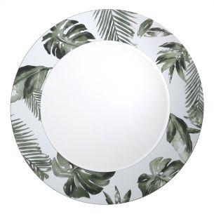 Syagrus Round Mirror With Palm Tree Print Detail 80CM