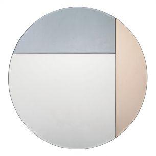 Thalia Round Blue And Rose Gold Mirror 50CM