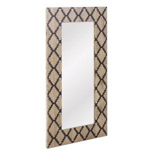 Tovey Rectangle Diamond Wood Veneer Mirror 80 X 40CM