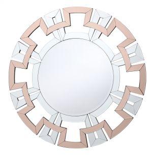 Veona Round Mirror With Rose Gold Detail 80CM