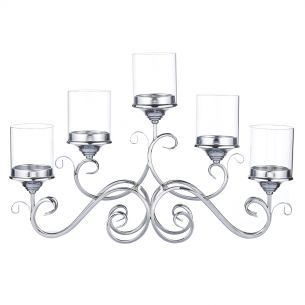 5 Arm Candle Holder Polished Chrome/Clear