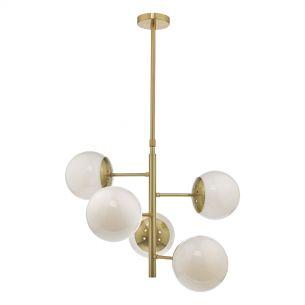 Bombazine 5lt Pendant Natural Brass & Opal Glass