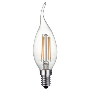 (SOLD AS 5PK) E14 LED DIM LAMP 4W 400LM CDV CNDL CLEAR