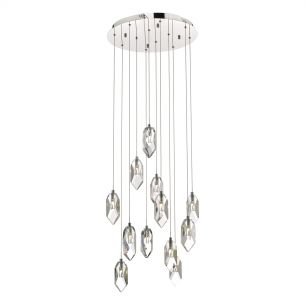 Crystal 12lt Cluster Pendant Polished Chrome & Crystal