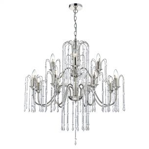 Daniella 12 Light Pendant Polished Nickel With Chrome Rods And Crystal Beads
