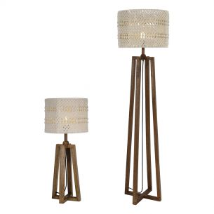 Devyn Table & Floor Lamp Wood C/W Cream Macrame Shade