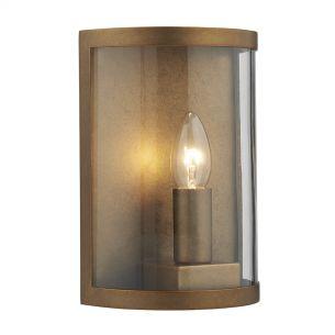 Dusk 1 Light Wall Light Natural Brass IP44