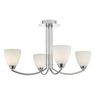 Edanna 4lt Semi Flush Polished Chrome & Opal Glass IP44