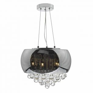 Giselle 5lt Pendant Smoked & Clear Glass