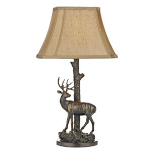Gulliver Deer Table Lamp in Aged Brass complete with Shade