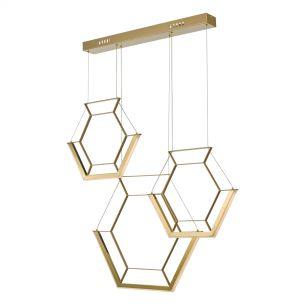 Hexagon 3lt Pendant Gold LED
