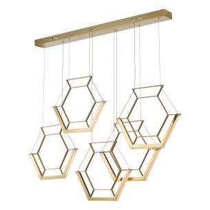 Hexagon 5lt Pendant Gold LED