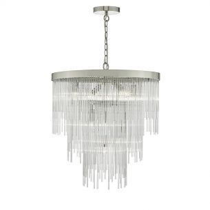Isla 7lt Pendant Polished Chrome & Clear Glass Rods