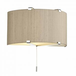 Kennedy 1LT Wall Washer Polished Chrome C/W Taupe Silk Shade