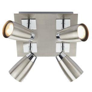Loft 4 Light Low Energy Square Plate Satin Chrome/ Polished Chrome