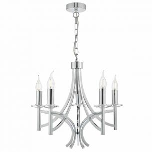 Lyon 5lt Pendant Polished Chrome & Crystal