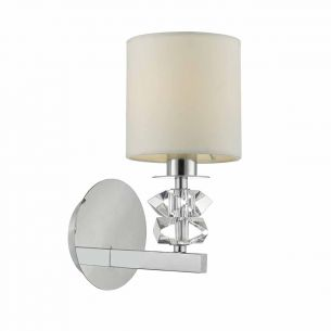 Mina Wall Light Polished Chrome & Clear Glass C/W Cream Cotton Shade