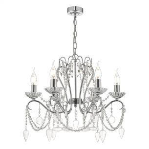 Nulara 6lt Chandelier Polished Chrome & Crystal
