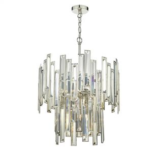 Odile 6 Light Pendant Champagne Crystal Polished Nickel Frame