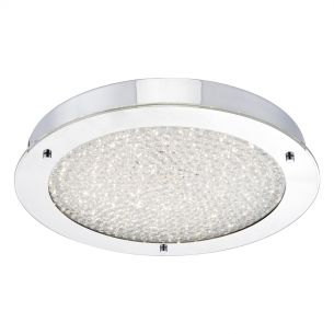 Peta Large LED Flush Polished Chrome & Crystal Beads IP44