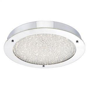 Peta Large LED Flush Polished Chrome & Crystal Beads IP44