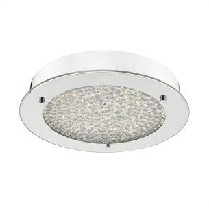 Peta LED Flush Polished Chrome & Crystal Beads IP44