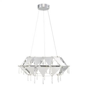 Potenza Pendant Polished Chrome & Crystal LED