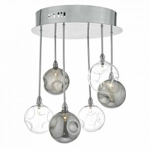 Quinn 6lt Semi Flush Polished Chrome With Smoked & Clear Glass