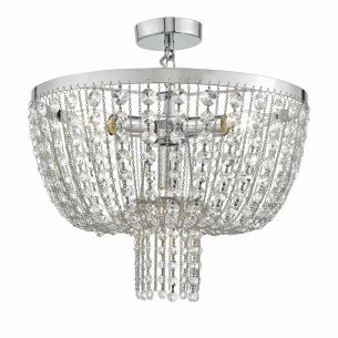 Rhea 4lt Pendant Polished Chrome & Crystal
