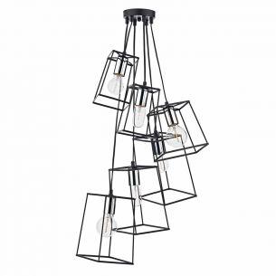 Tower 6lt Cluster Pendant Black & Polished Chrome